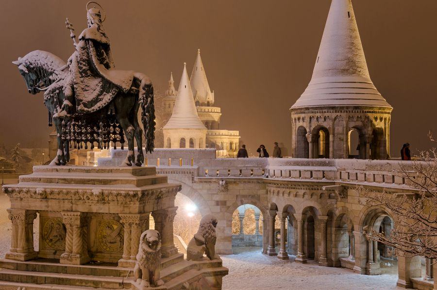 Fisherman's Bastion in winter - Budapest