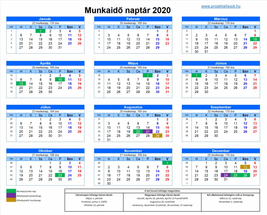 hosszú hétvége naptár 2020